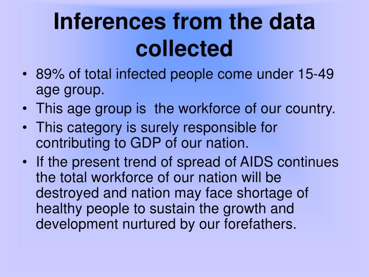 Inferences from the data collected
