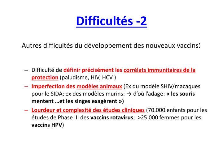 Difficultés -2
