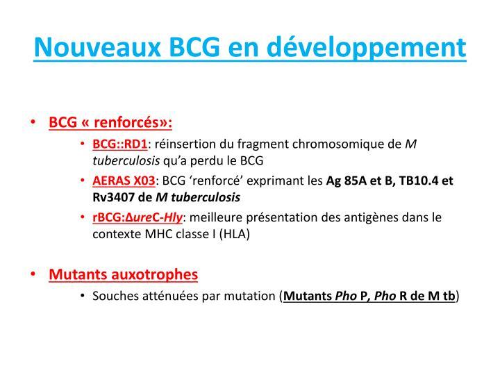 Nouveaux BCG en développement