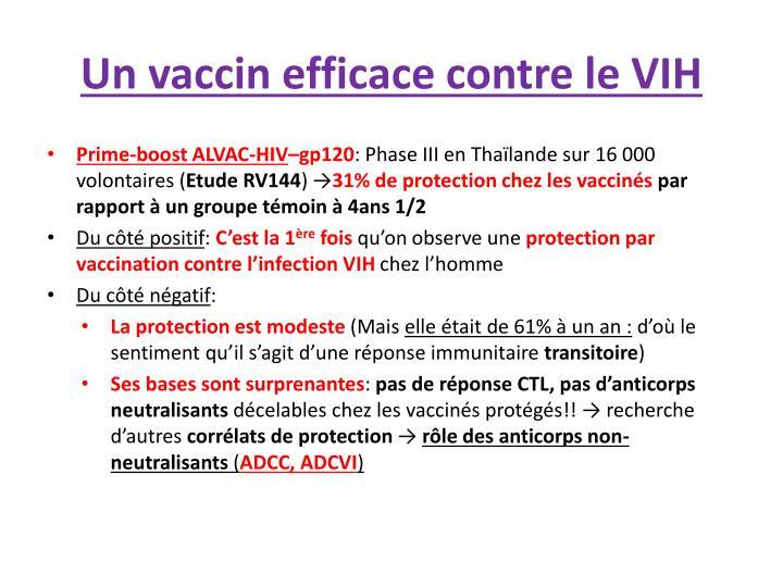 Un vaccin efficace contre le VIH