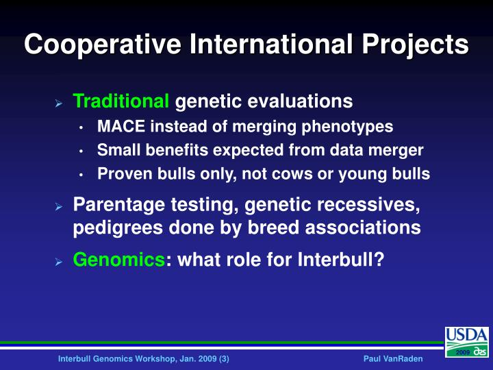 Cooperative international projects