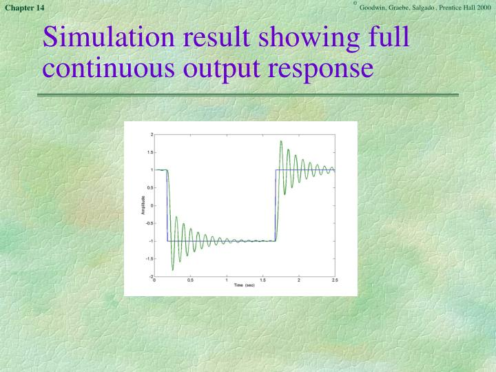 Simulation result showing full continuous output response