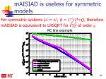 maisiad is useless for symmetric models