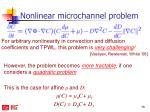 nonlinear microchannel problem