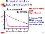 numerical results rlc transmission line