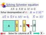 solving sylvester equation