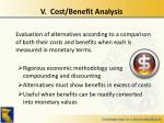 v cost benefit analysis