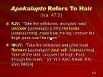 apokalupto refers to hair isa 47 2
