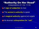 authority on her head interpretations of 1 cor 11 10