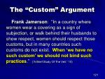 the custom argument1