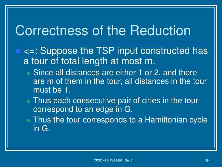 Correctness of the Reduction