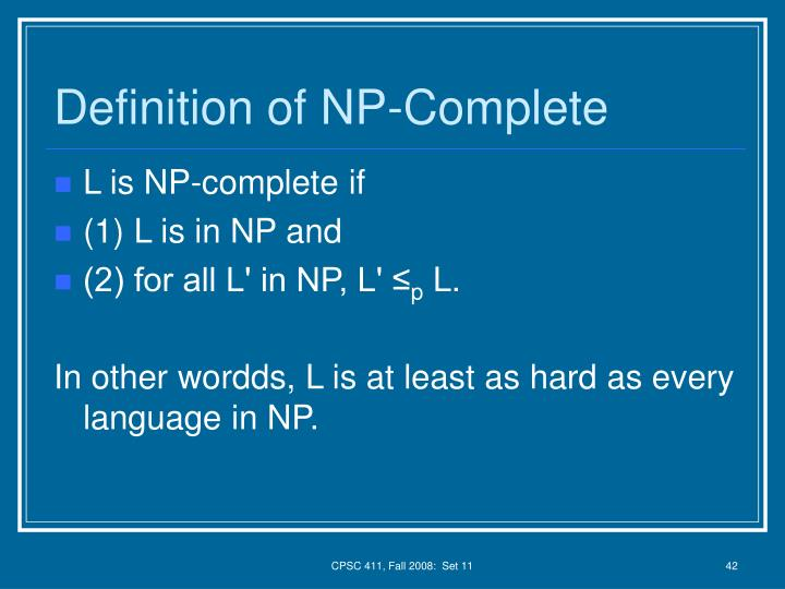 Definition of NP-Complete