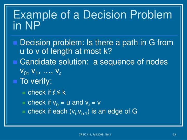 Example of a Decision Problem in NP