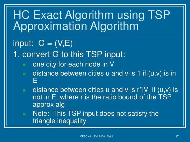 HC Exact Algorithm using TSP Approximation Algorithm