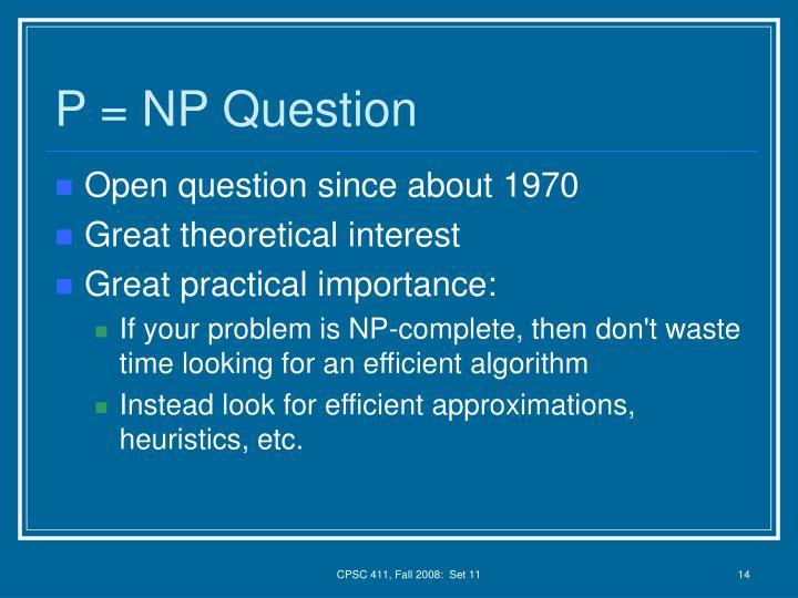 P = NP Question