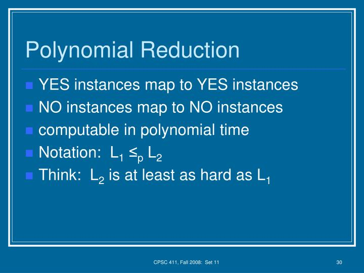Polynomial Reduction