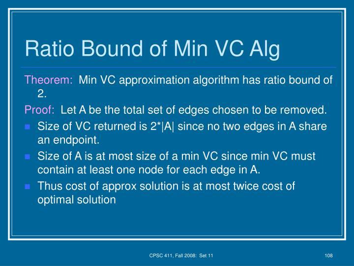 Ratio Bound of Min VC Alg