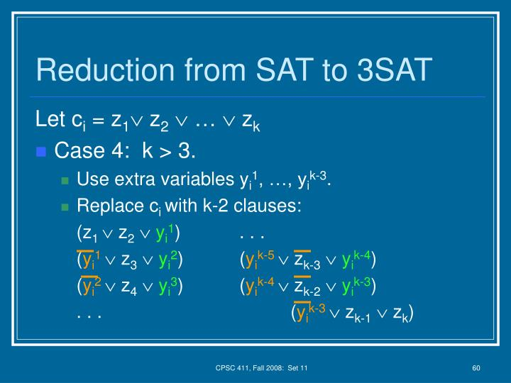 Reduction from SAT to 3SAT