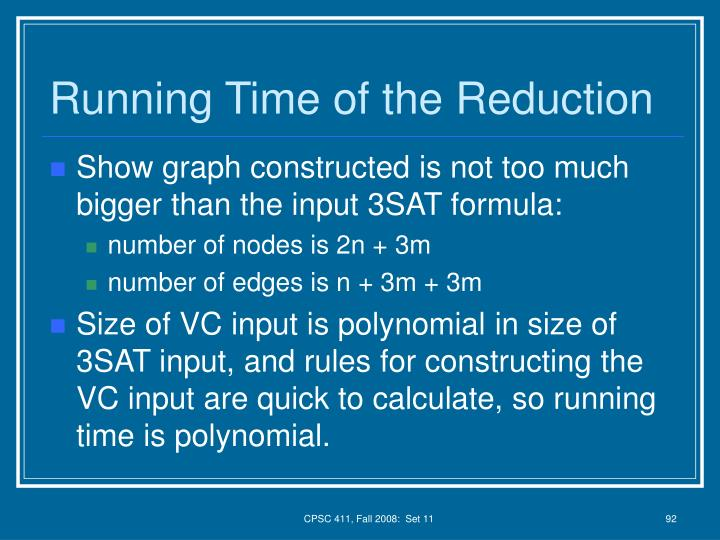 Running Time of the Reduction