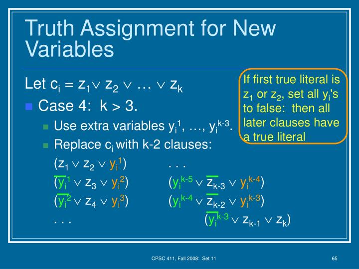 Truth Assignment for New Variables