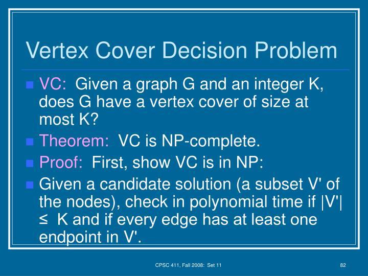 Vertex Cover Decision Problem