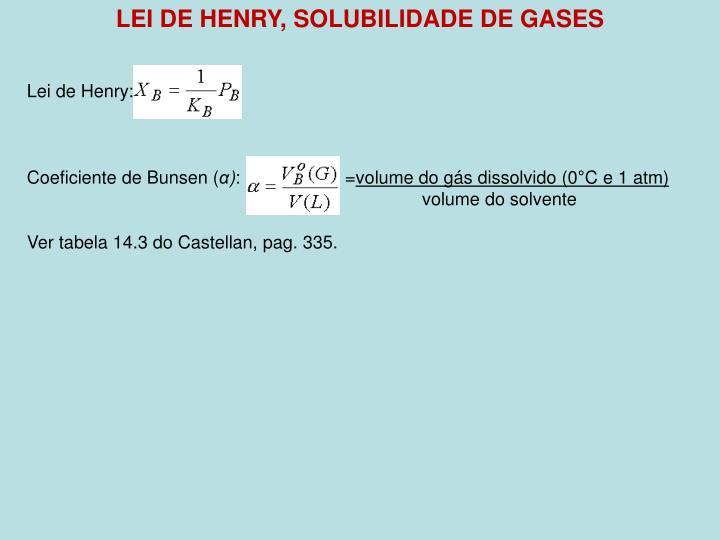 LEI DE HENRY, SOLUBILIDADE DE GASES