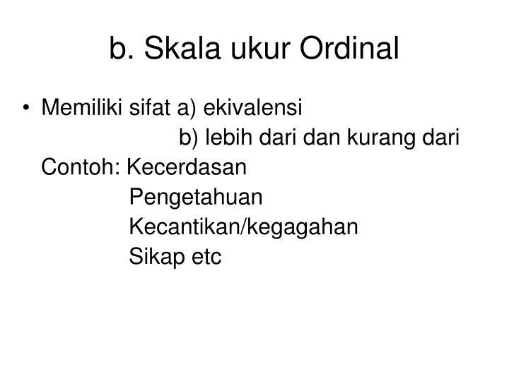 b. Skala ukur Ordinal