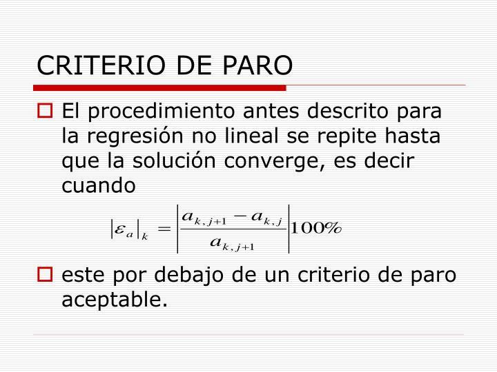 CRITERIO DE PARO