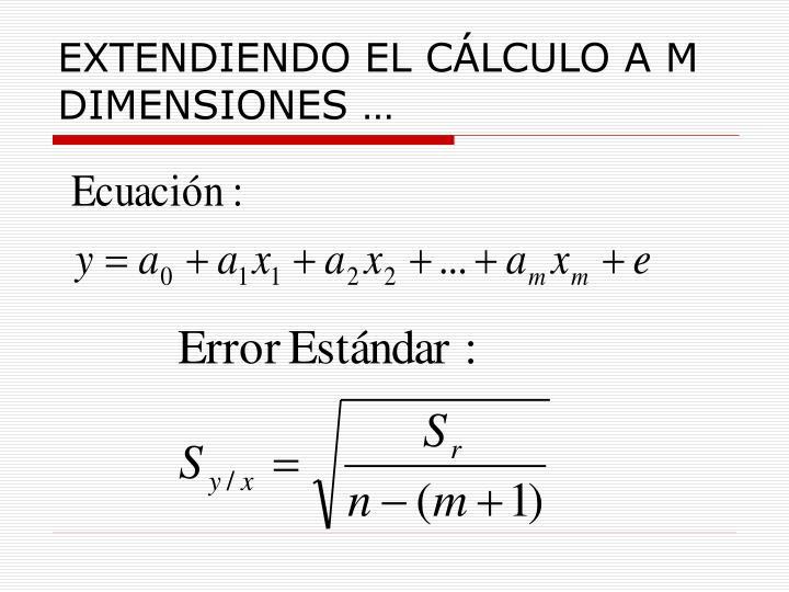 EXTENDIENDO EL CÁLCULO A M DIMENSIONES …