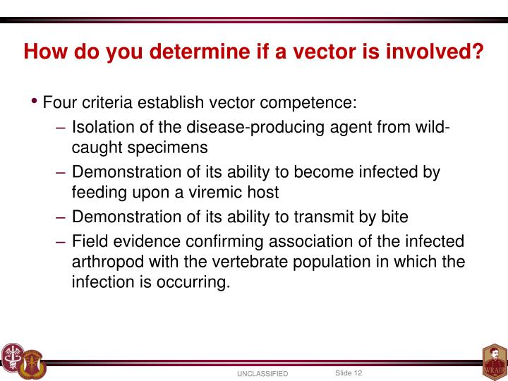 How do you determine if a vector is involved?