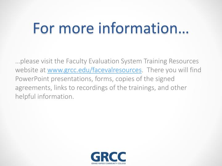 For more information…