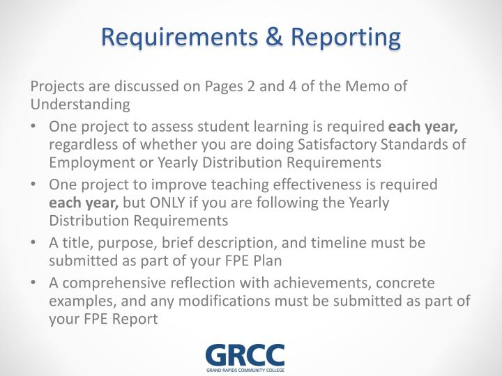 Requirements reporting