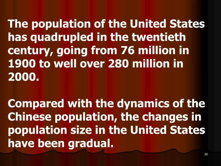 The population of the United States has quadrupled in the twentieth century, going from 76 million in 1900 to well over 280 million in 2000.