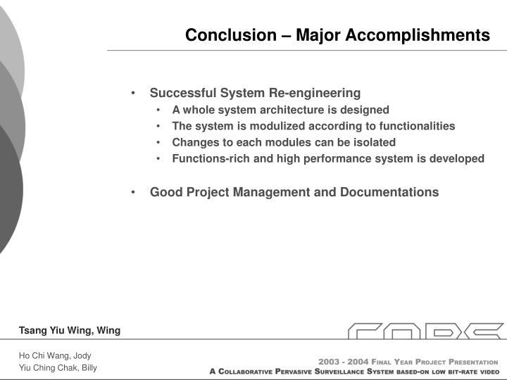 Conclusion – Major Accomplishments