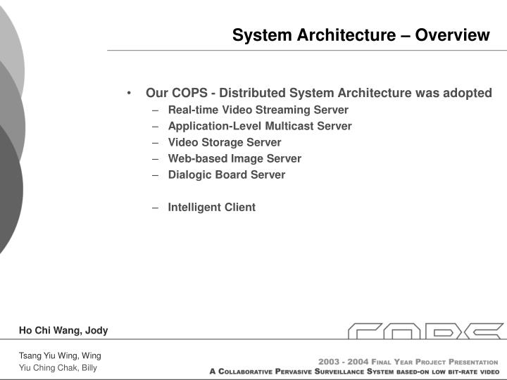 System Architecture – Overview