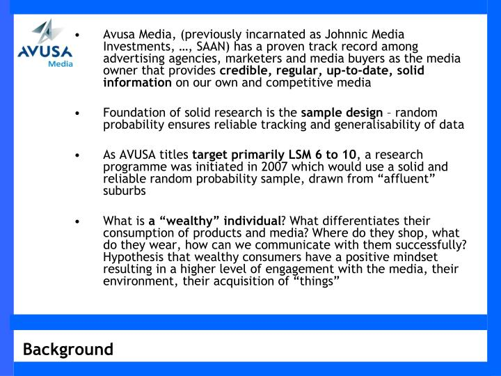 Avusa Media, (previously incarnated as Johnnic Media Investments, …, SAAN) has a proven track reco...