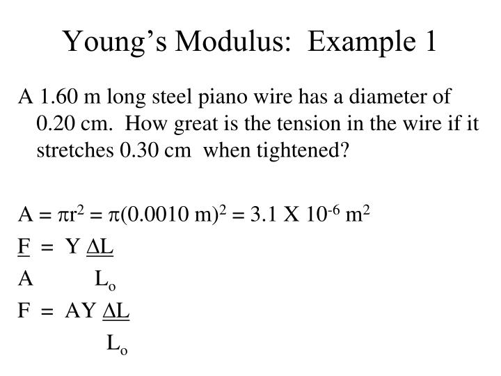 Young's Modulus:  Example 1