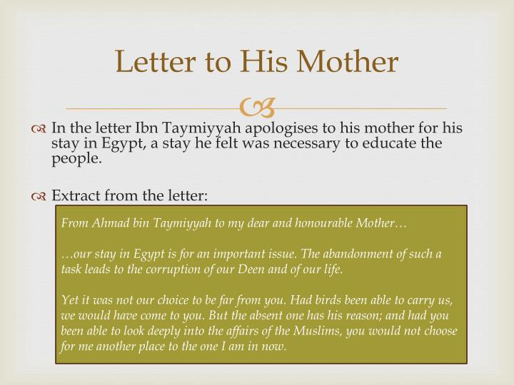 Letter to His Mother
