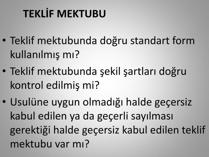 TEKLİF MEKTUBU