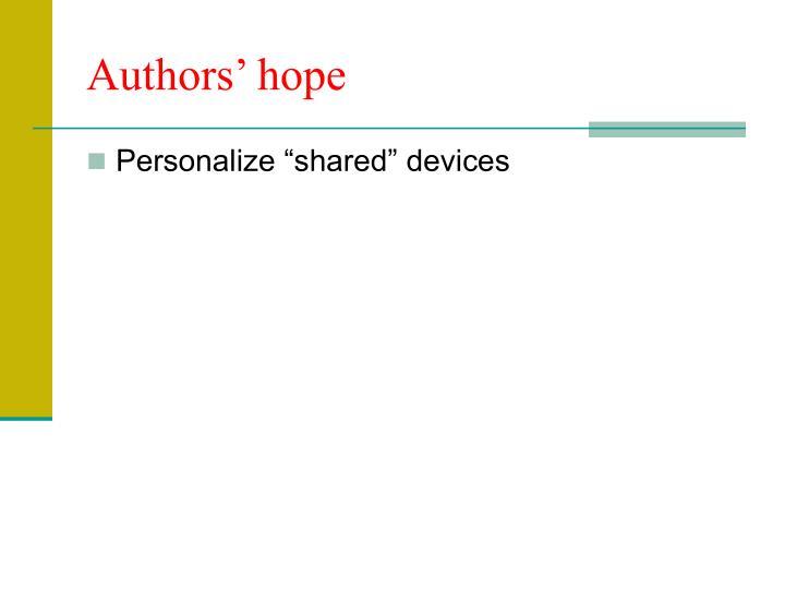 Authors' hope