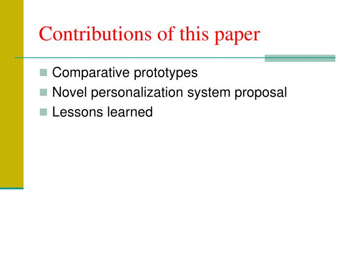 Contributions of this paper