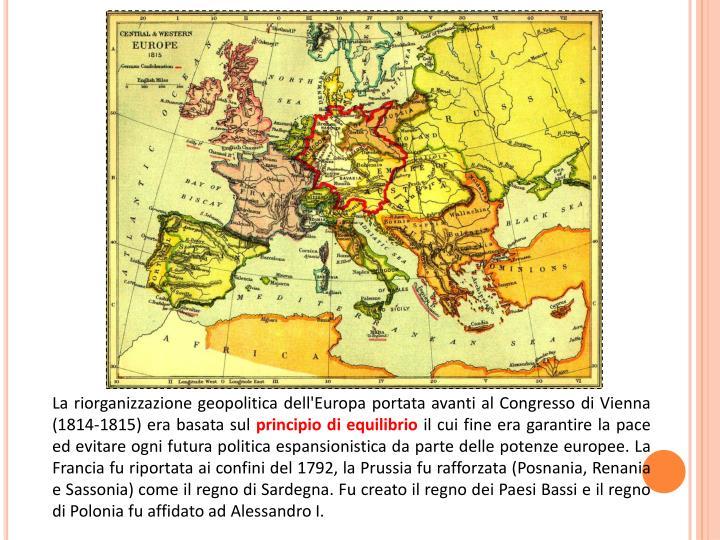 La riorganizzazione geopolitica dell'Europa portata avanti al Congresso di Vienna (1814-1815) era basata sul