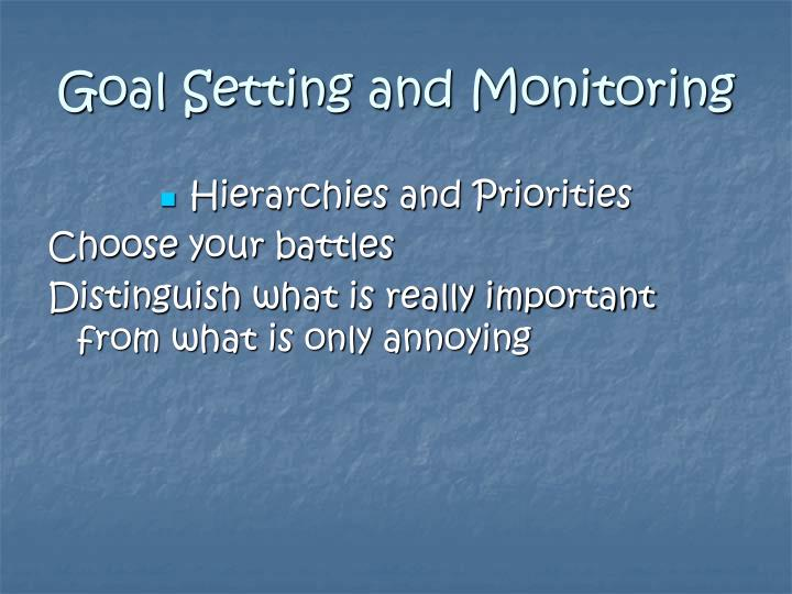 Goal Setting and Monitoring