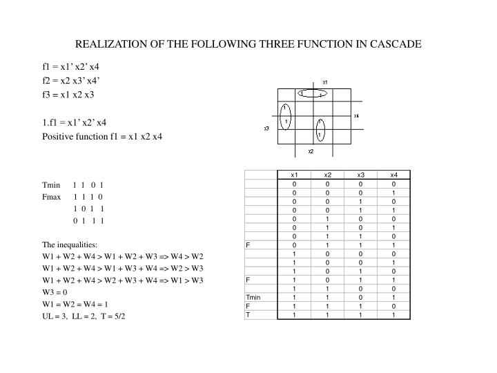 REALIZATION OF THE FOLLOWING THREE FUNCTION IN CASCADE