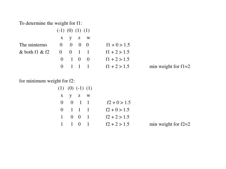 To determine the weight for f1: