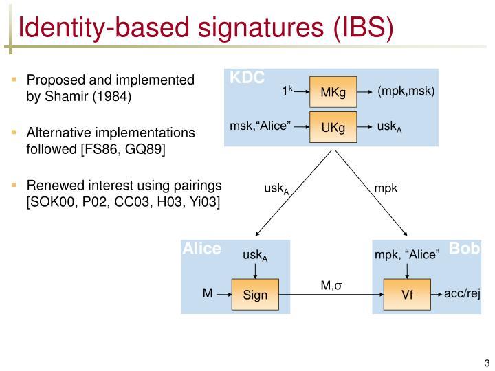 Identity based signatures ibs