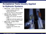acceptance tests usually applied to hydronic systems