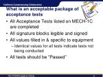 what is an acceptable package of acceptance tests
