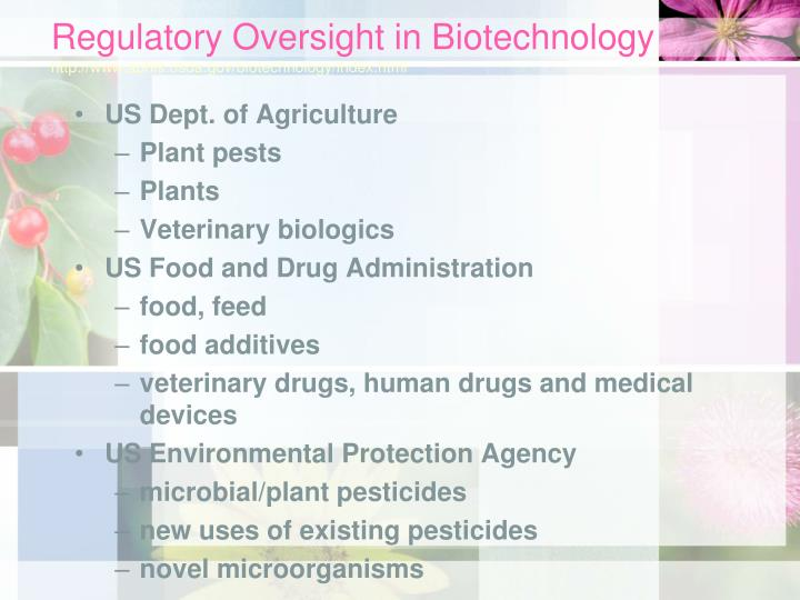 Regulatory Oversight in Biotechnology