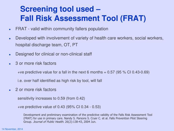 Screening tool used –